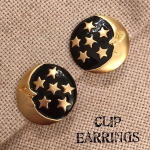 VTG Matte Gold Black Enamel Moon Star Clip Earring
